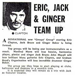 Eric Clapton Ginger Baker Jack Bruce team up